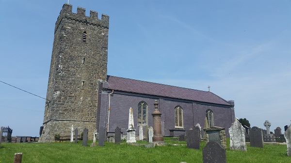 Llansantffraed church with slate cladding to protect it against the elements